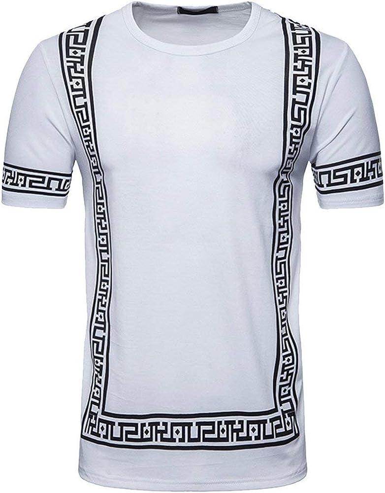 Camisa De Verano De Los Hombres Cuello Corto Top Redondo Slim Fit Tradicional con Estampado De Patrones Geométricos Festival Camiseta Tribal Camiseta (Color : Blanco, Size : S): Amazon.es: Ropa y accesorios
