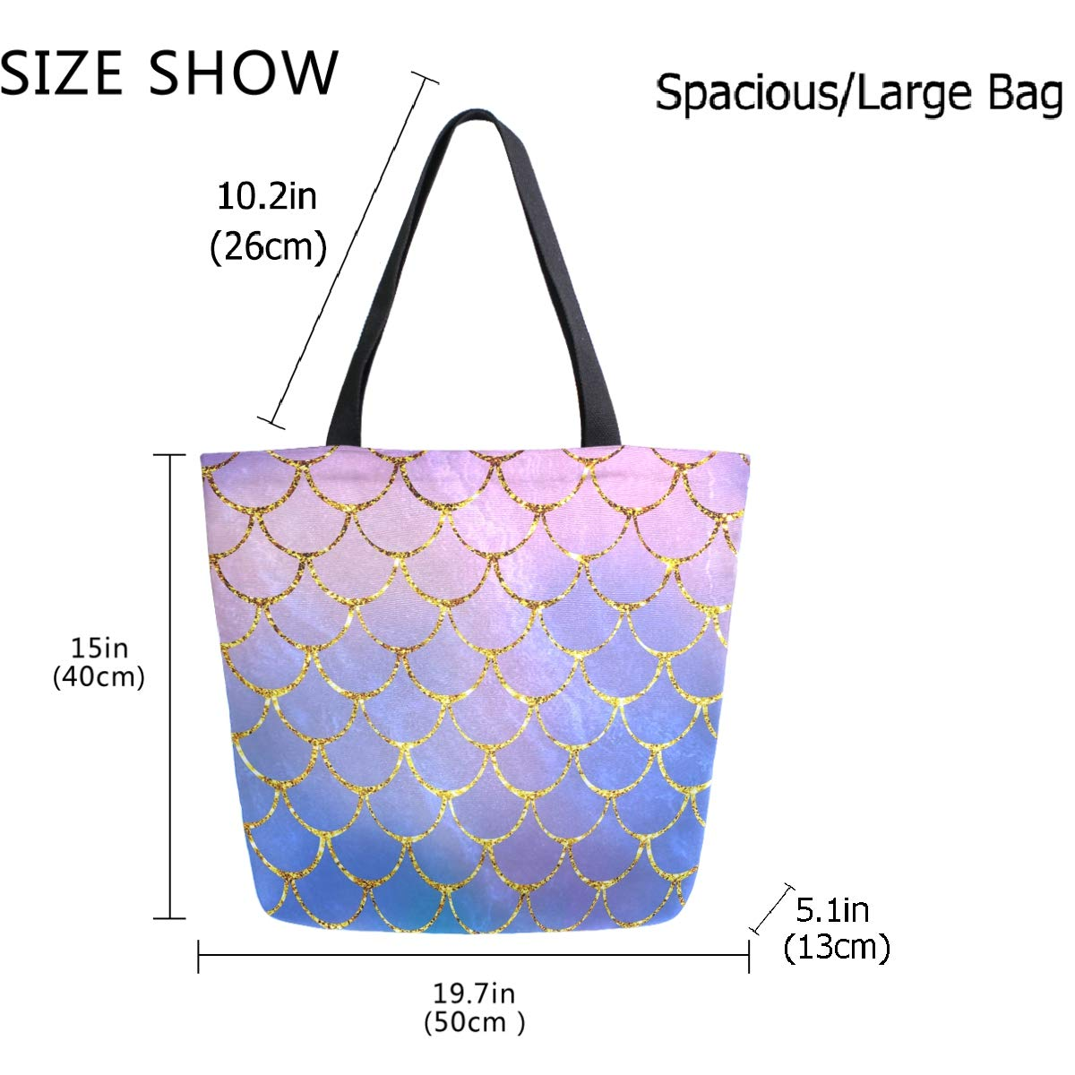ZzWwR Ethnic Circles Floral Pattern Large Canvas Shoulder Tote Top Handle Bag for Gym Beach Travel Shopping