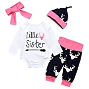 Newborn Baby Girl Outfits Little Sister Romper +Elk Pattern Pants +Hat +Headband 4Pcs Clothes Sets