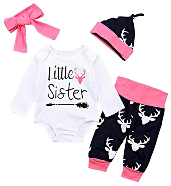 b9e16d68d090 Newborn Baby Girl Christmas Outfits Little Sister Romper +Elk Pattern Pants  +Hat +Headband