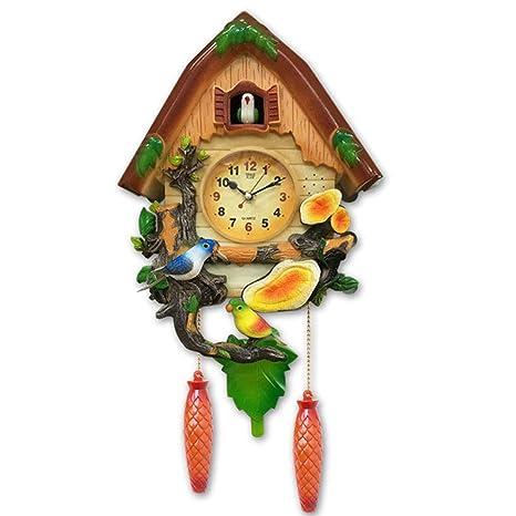 HONGNA Sala De Estar Silenciosa Reloj De Cuco Reloj De Pared Retro Simple Creativo Reloj De