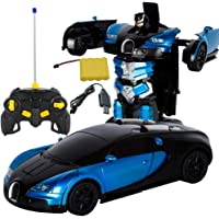 iBasteFR Télécommande Robot Transformer RC Télécommande Robot Transformer Bugatti Rambo Voiture Robot Jouet Modèle De Voiture Électrique avec Télécommande