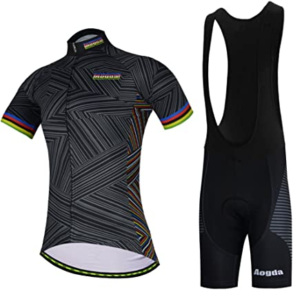 Men Cycling Jersey Bike Short Sleeve Clothing Bicycle Sports Shirt Black-Round