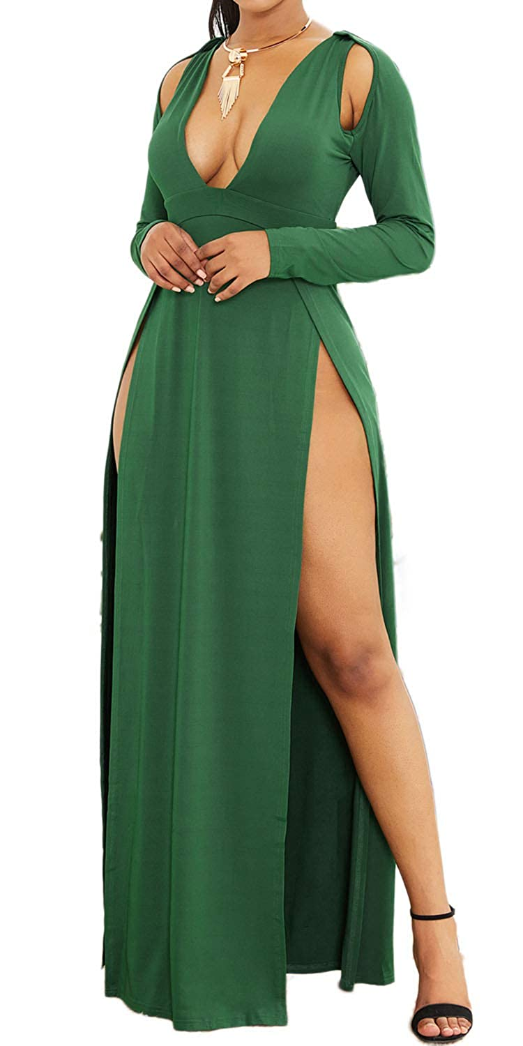 LaCouleur Womens Plunging V Neck Double High Slit Long Sleeve Club Party Evening Beach Maxi Dress