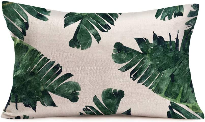 Amazon Com Aremetop Palm Leaves Pillow Covers Decorative Cotton Linen Realistic Vivid Leaves Of Palm Tree Tropical Hawaii Green Plant Throw Waist Pillow Case Cushion Cover For Home Sofa Decor 12x20 Inches Home