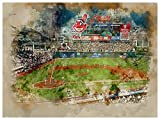 Cleveland Indians Poster Watercolor Art Print 12x16 Wall Decor