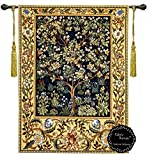 William Morris Tree of Life B 41''wx55''l 100% Cotton Full Backing(color Is Beige) Wall Hanging Tapestry + Decorative Designer's Extra Heavy Long Tassels ($24.99 value) Rod Is Not Included by Decor Plus