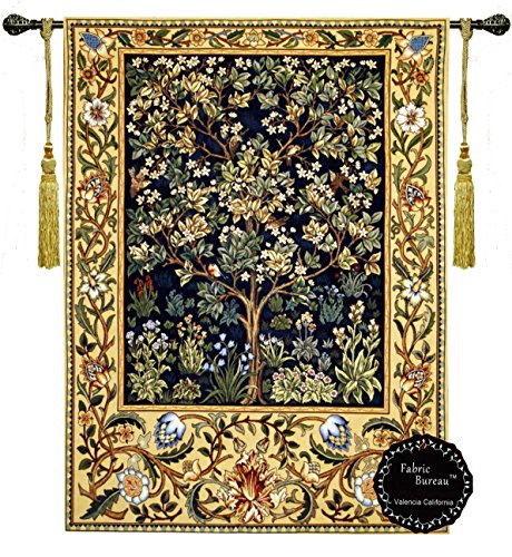 [Free Shipping] Beautiful Tree of Life By William Morris (M-B) Fine Tapestry Jacquard Woven Wall Hanging Art Decor
