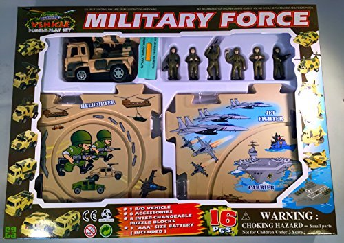 - Puzzle Car Set -- Battery Operated Military Force Missle Truck Play Set