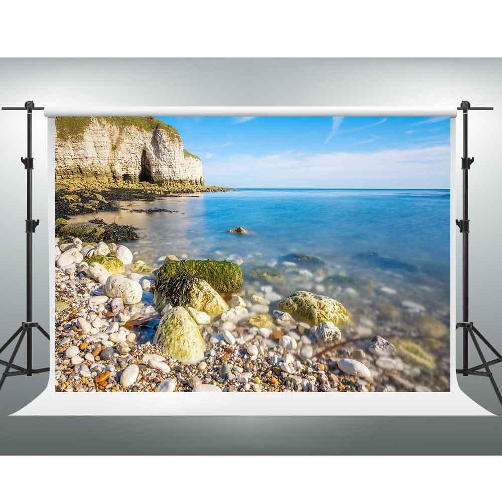 サマービーチBackdrops Gesen 7 x 5ft Blue Sea Water Colored Cobblestone写真背景テーマパーティーバックドロップフォトスタジオ撮影小道具xcge190   B07FDMVKCC
