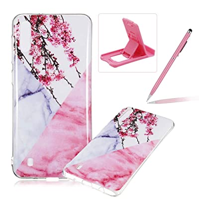 Soft Case for Samsung Galaxy M10,Anti Scratch Cover for Samsung Galaxy M10,Herzzer Stylish Pretty Pink White Marble Stone Pattern TPU Bumper Flexible Shock Scratch Resist Rubber Case: Musical Instruments