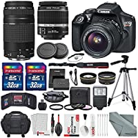 Photo Savings Canon EOS Rebel T6 DSLR Camera with EF-S 18-55mm f/3.5-5.6 IS II Lens, EF 75-300mm f/4-5.6 III Lens, 64GB with Fibertique Cleaning Cloth, Xpix Cleaning Kit and Accessory Bundle