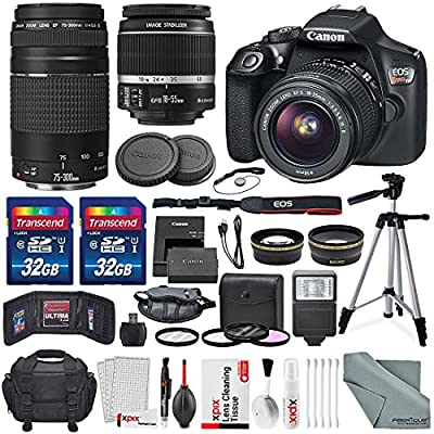 Canon EOS Rebel T6 DSLR Camera with EF-S 18-55mm f/3.5-5.6 IS II Lens, EF 75-300mm f/4-5.6 III Lens, 64GB, along with Fibertique Cleaning Cloth, and Xpix cleaning Kit and Deluxe Accessory Bundle by Canon