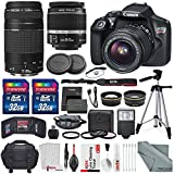 Photo Savings Canon EOS Rebel T6 DSLR Camera with EF-S 18-55mm f 3.5-5.6 IS II Lens - EF 75-300mm f 4-5.6 III Lens - 64GB with Fibertique Cleaning Cloth - Xpix Cleaning Kit and Accessory Bundle