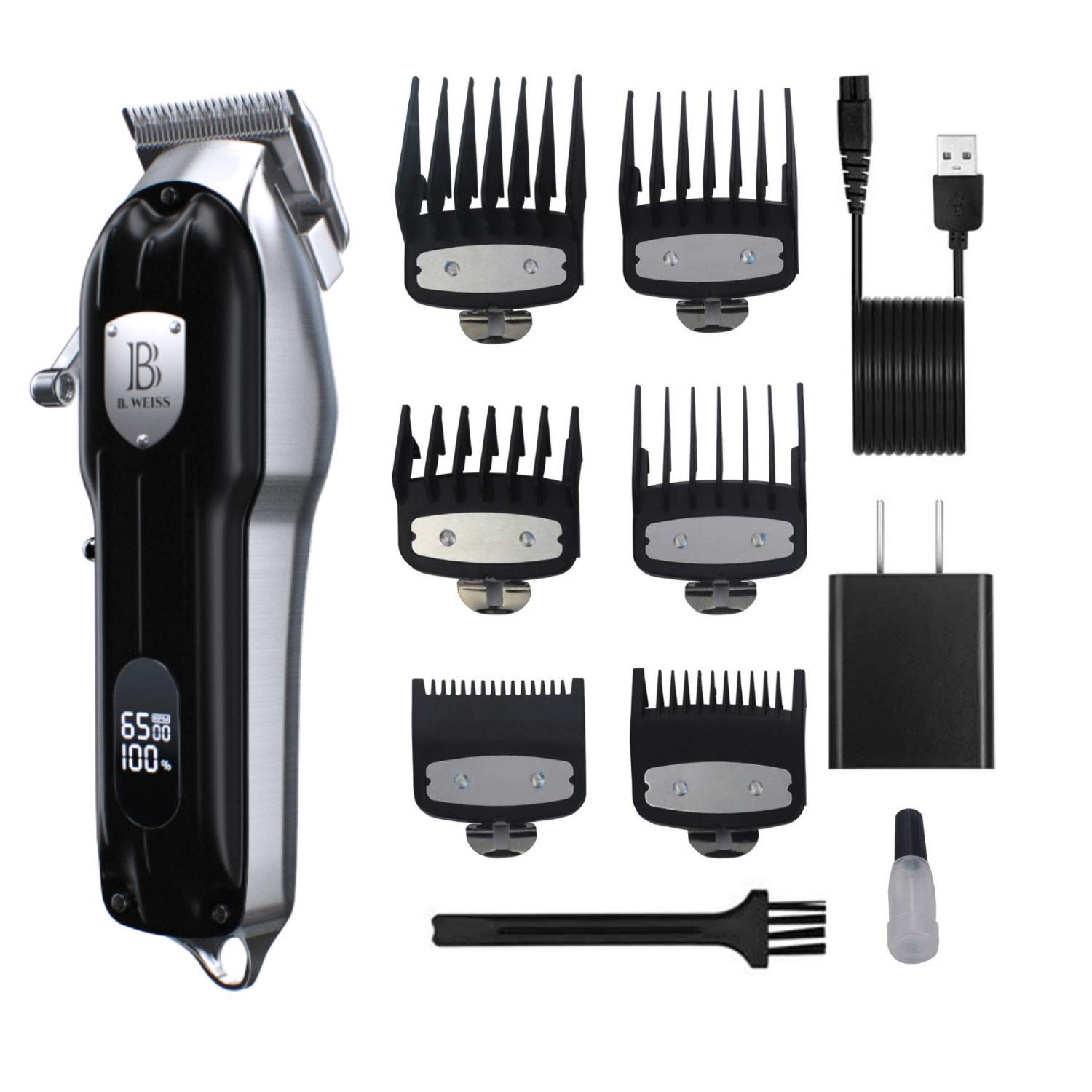 Hair clippers for men, self haircut kit for men's And children At Home, The B Clipper By (B. WEISS) Cordless Hair Trimmer Professional Haircut & Grooming Kit For Men Rechargeable LED Display