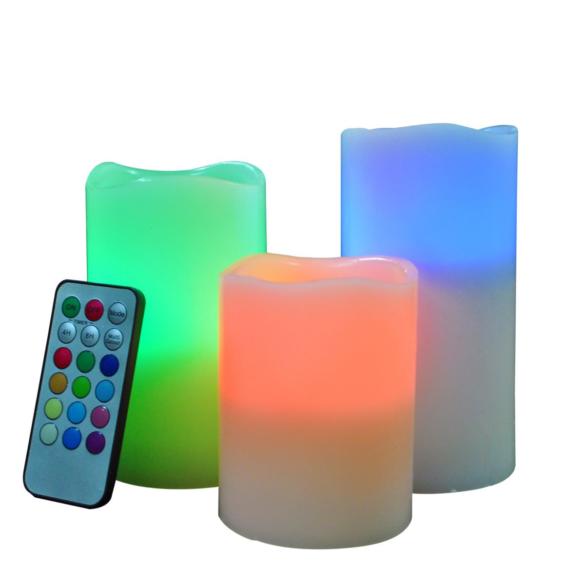 UBC Color Changing Flameless Candles Multi Colorful Flickering LED Candle Light Tea Lights with Remote Control Timer for Wedding, Party and Decoration