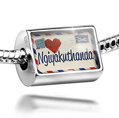Sterling Silver Bead I Love You Zulu Love Letter from South Africa Charm  Fits All European