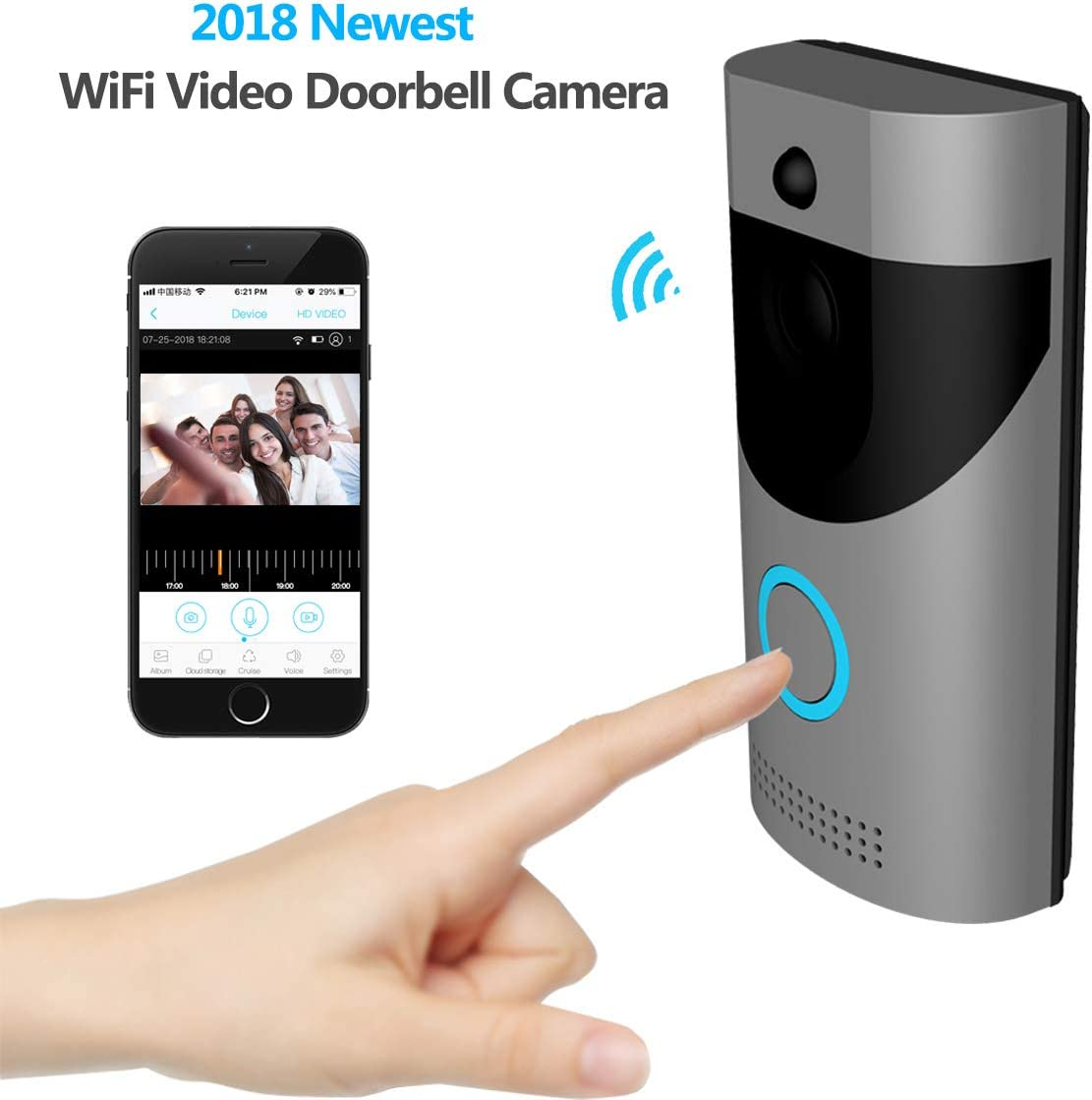KAMRE Smart Wireless Video Doorbell, HD 720P Home Security Camera with Free Cloud Services 166 Wide Angle Real-Time Two-Way Talk and Video PIR Motion Detection Night Vision, Built-in Two Batteries
