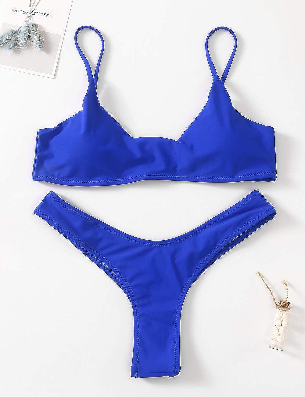 ec6ef7ff3a Amazon.com: Womens Swimsuits 2 Pcs Brazilian Top Thong Bikini Set High  Waisted Bathing Suits for Women: Clothing