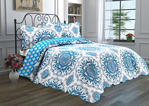 2 Piece Quilt Set with Sham Reversible Bedspread Matelasse Bedcover Double-Sided Bedding Coverlet Lightweight Comforter Linen Looking Luxurious Bed Cover (Medallion-Twin)