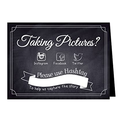 99e7ebb76 Hashtag Social Media Table Card Signs for Weddings and Parties - Chalkboard  Style - 10 Pack