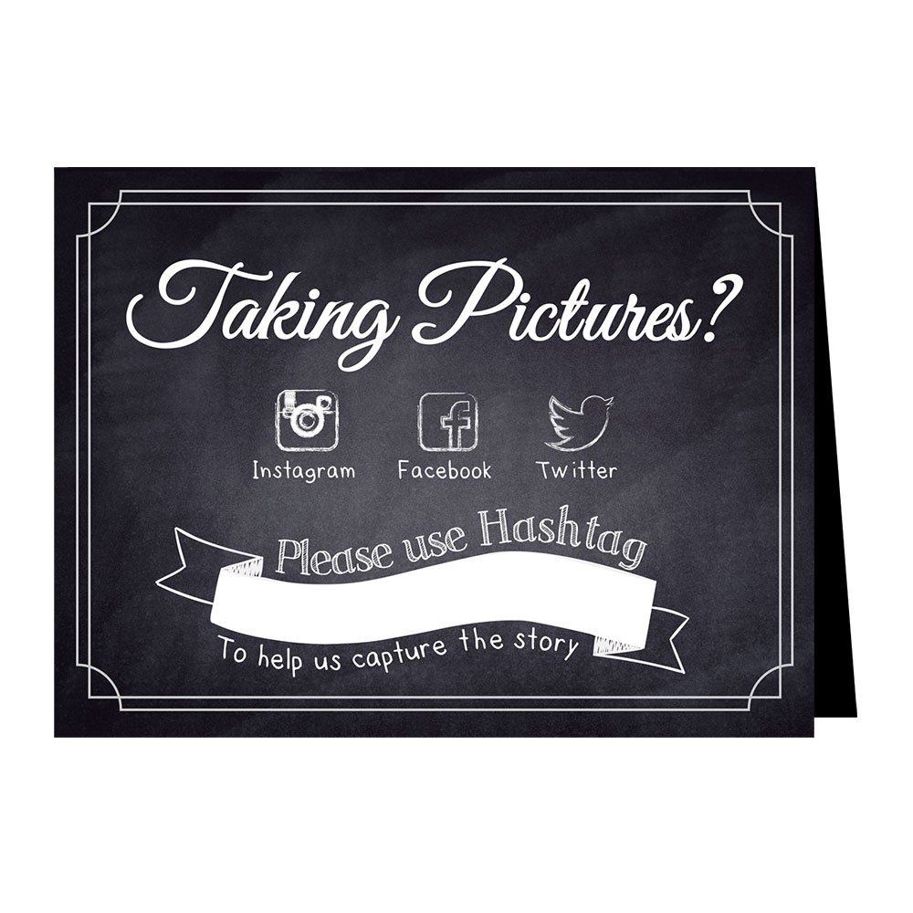 Hashtag Social Media Table Card Signs for Weddings and Parties - Chalkboard Style - 10 Pack by One Lily Press (Image #1)