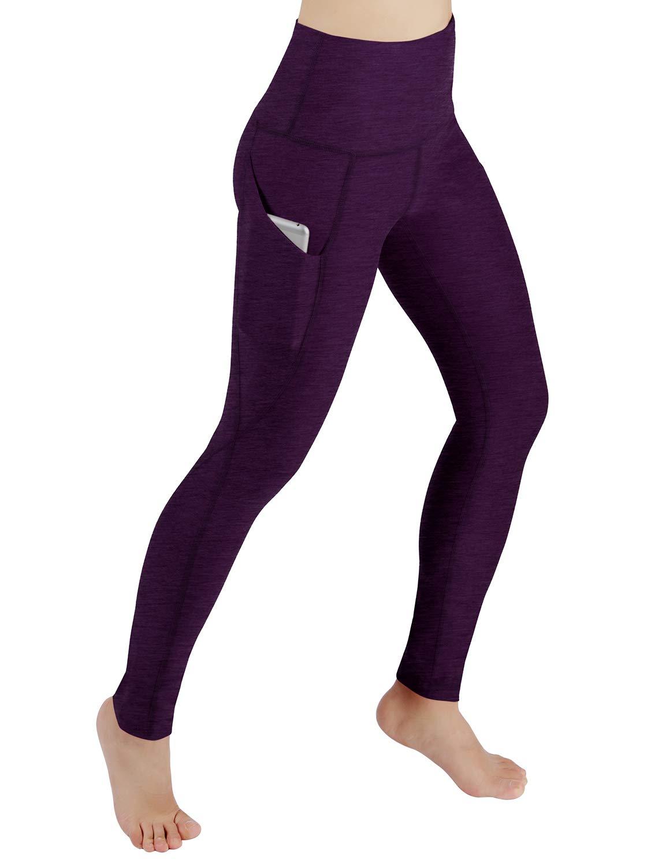 ODODOS High Waist Out Pocket Yoga Pants Tummy Control Workout Running 4 Way Stretch Yoga Leggings,DeepPurple,X-Small