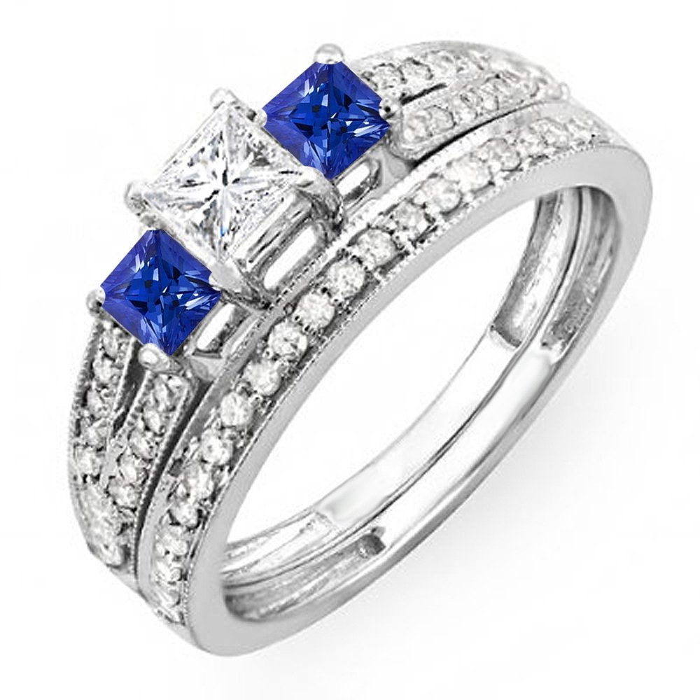 Dazzlingrock Collection 10K Blue Sapphire & White Diamond Ladies 3 Stone Bridal Engagement Ring Set, White Gold, Size 7