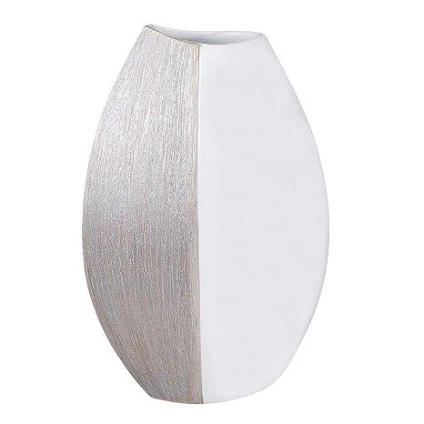 Höhe 40 cm weiß-champagner Formano Deko Vase aus Keramik