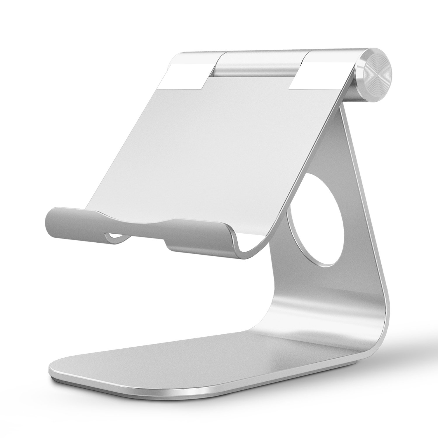 OMOTON Tablet Stand, Adjustable Multi-Angle Aluminum iPad Stand, with Stable Sticky Base and Convenient Charging Port, Fits All Smart Phones, E-readers and Tablets (Up to 12.9 inch), Silver