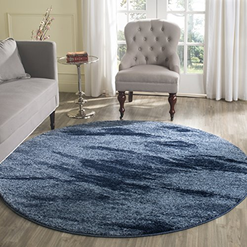 Safavieh Retro Collection RET2891-6065 Modern Abstract Light Blue and Blue Round Area Rug (6' Diameter)