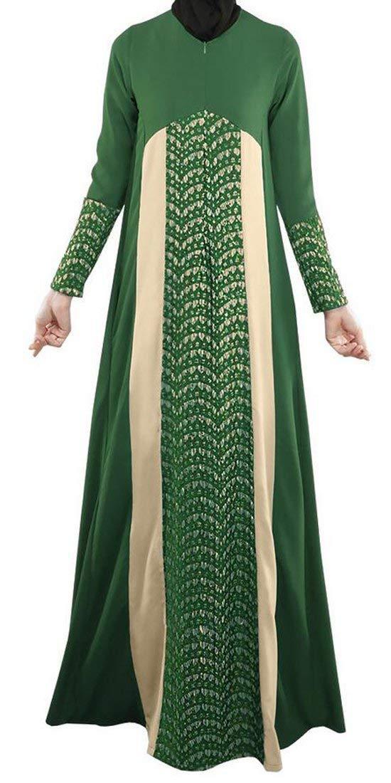 Green Hadudu Women's Lace Thobe Muslim Long Sleeve Arab Splice Long Dresses