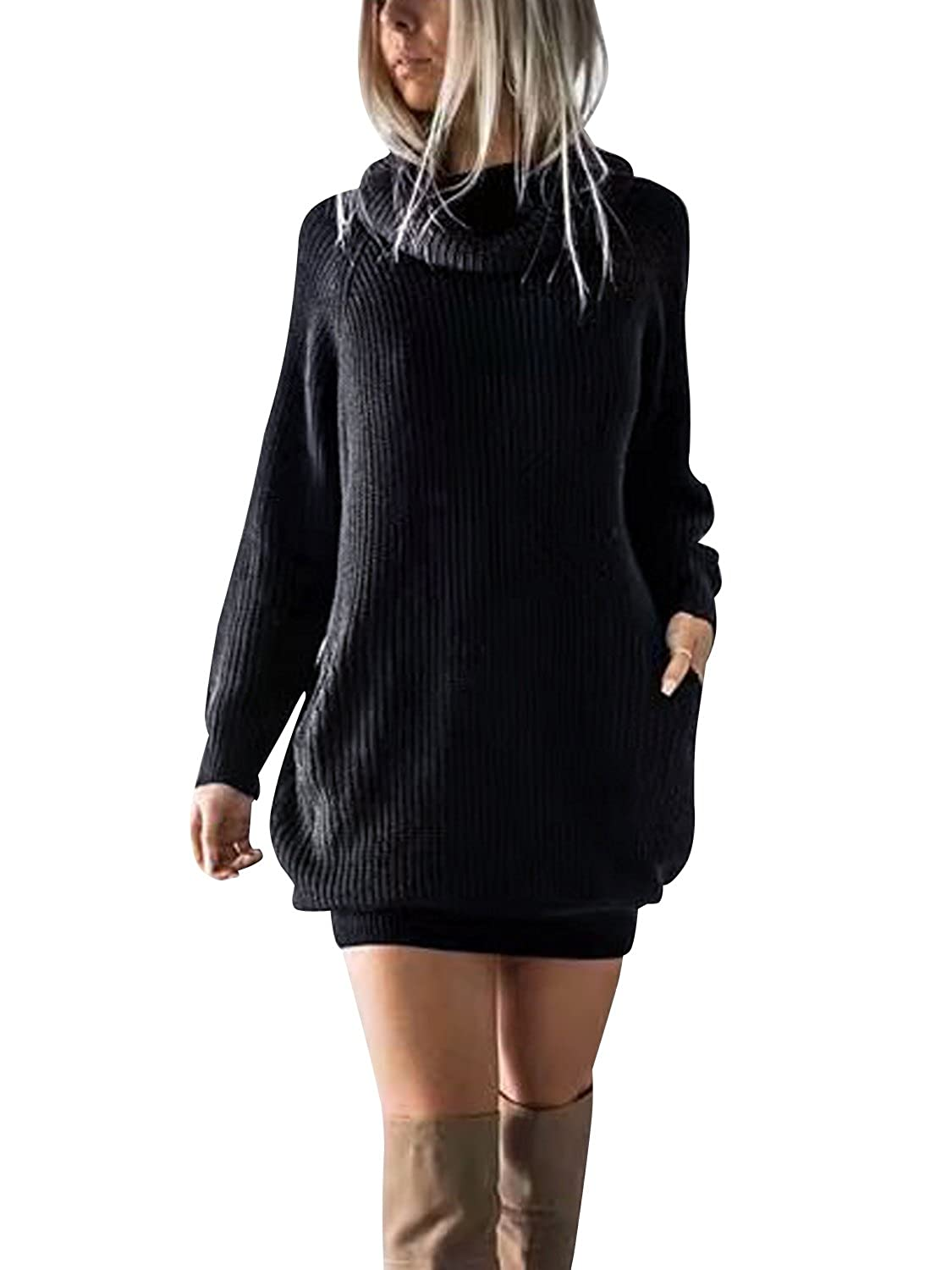83a8ab652421 Simplee Women s Winter Warm Loose Turtleneck Oversized Pullover Sweater  Dress