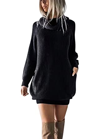 e913ac841d Simplee Women s Winter Warm Loose Turtleneck Oversized Pullover Sweater  Dress