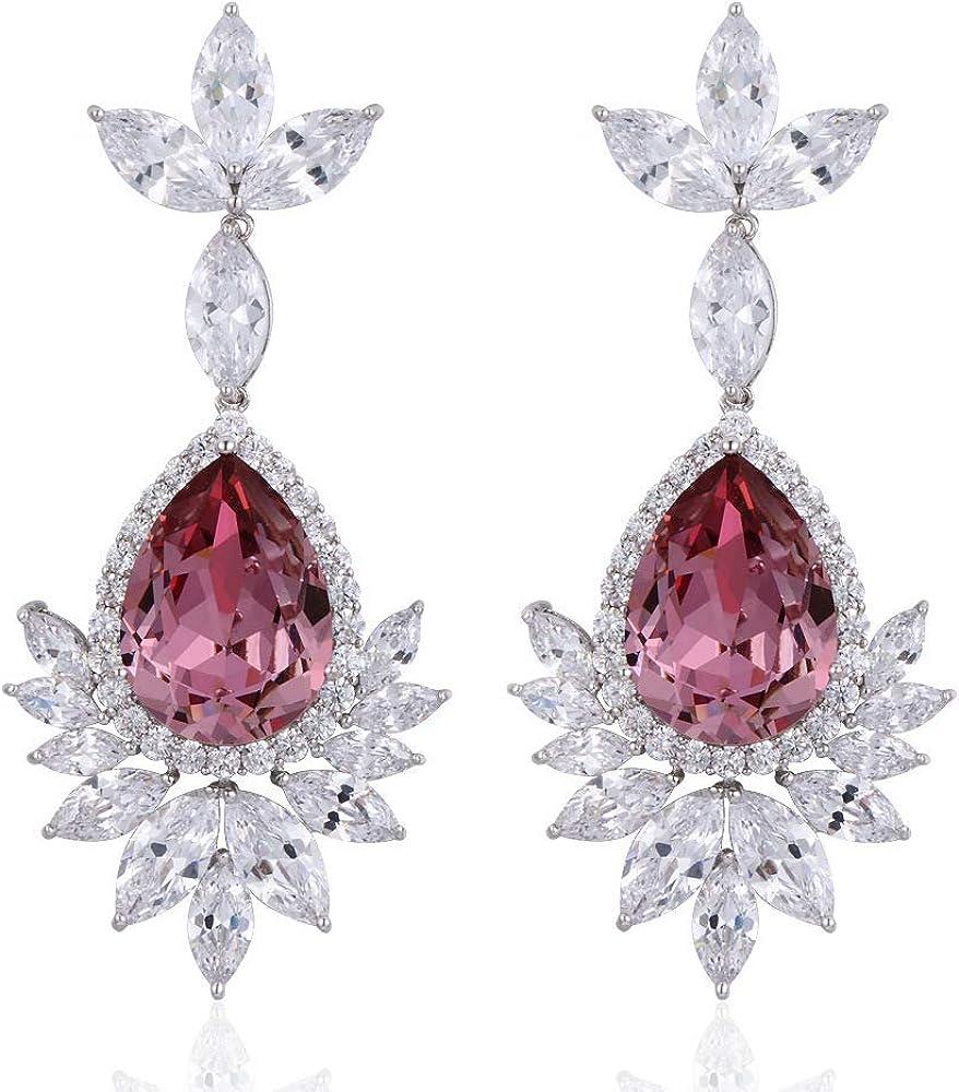 Pendientes De Cristal Con Incrustaciones De Piedras Preciosas De Color Para Mujer Pendientes De Banquete Joyería Creación Poética