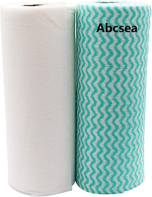Abcsea 2 rollos de trapos de limpieza de cocina, biodegradables e ...