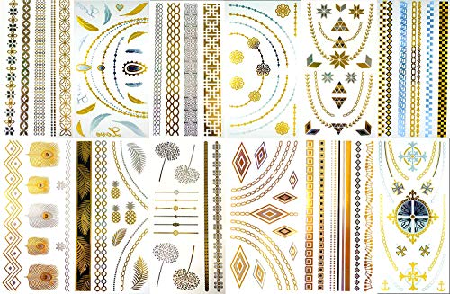BohoTats Tattoos - Set 3 of 12 Sheets - Over 100+ Intricate Designs - Stunning Flash Metallic Boho Tattoos - Non Toxic - Quality Guarantee - Temporary Metallic Tattoos