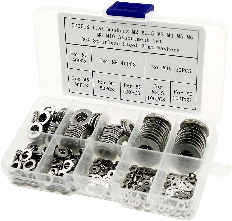 iztor 500PCS Stainless Steel Flat Washers Assortment Kitcan be Used for M2 M2.5 M3 M4 M5 M6 M8 M10 Screws Bolt