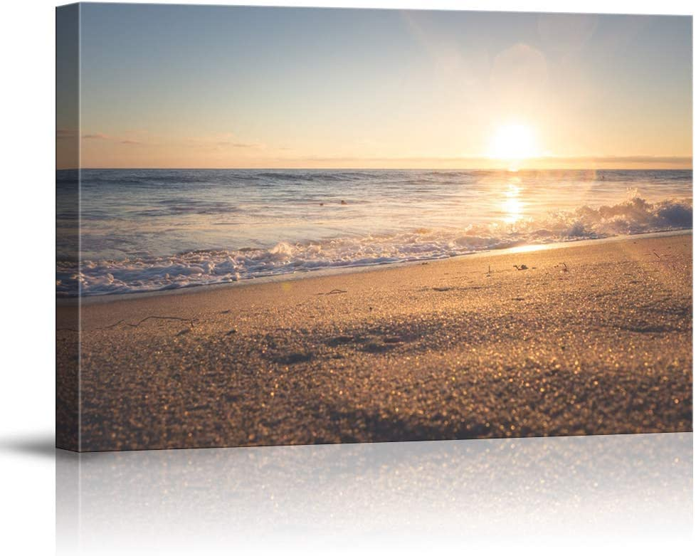 NWT Canvas Wall Art Sunset Beach Sea Painting Artwork for Home Prints Framed - 24x36 inches