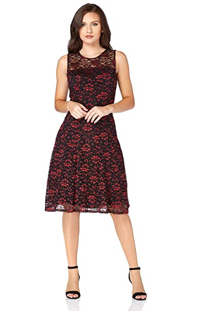 b985ddc1a36c Roman Originals Women s Red Shimmer Lace Skater Dress Sizes 10-20 - Red -  Size