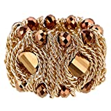 Kaymen Jewelry 18k Gold Plated Copper Chains and Crystal Stone Knit Charm Bangles Bracelets for Women 4 Colors