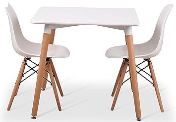 DSW Eiffel Stühle, Esstisch Designer Tisch + 4 80cms Quadratisch, Klein,  Mit Beinen
