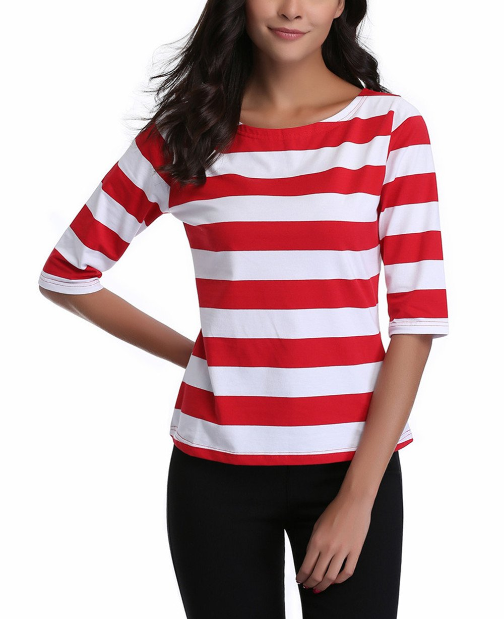 MISS MOLY SHIRT レディース B0756QVH8Q M|Red Large Stripe Red Large Stripe M