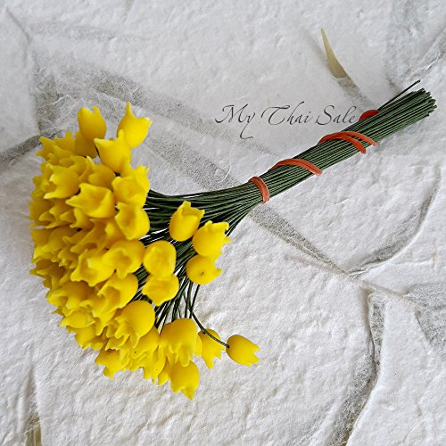 Amazon Com 100 Pcs Pollens Flower Buds Flower Centers On Wire Yellow