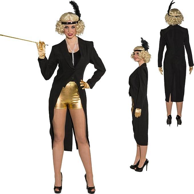 NET TOYS FRAC Mujer Negro FRAC Showgirl S 34/36 Ropa Mujer Cabaret ...