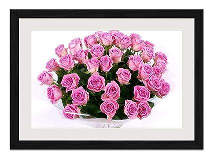 Amazon rltto pink roses flowers art print wall hang black rltto pink roses flowers art print wall hang black wood frame poster framed mightylinksfo