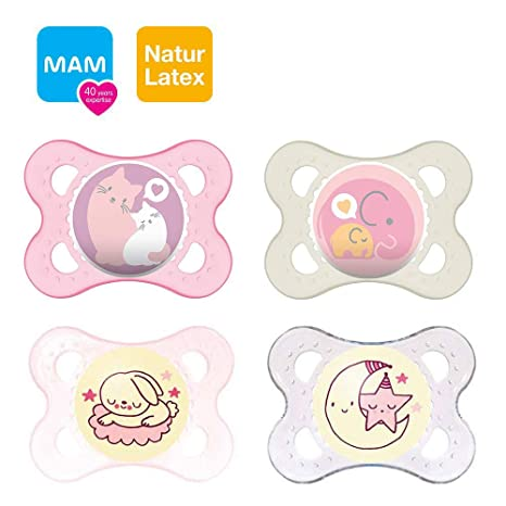 Mam Day & Night látex Chupete 0 - 6 Girl//Juego De 4 ...