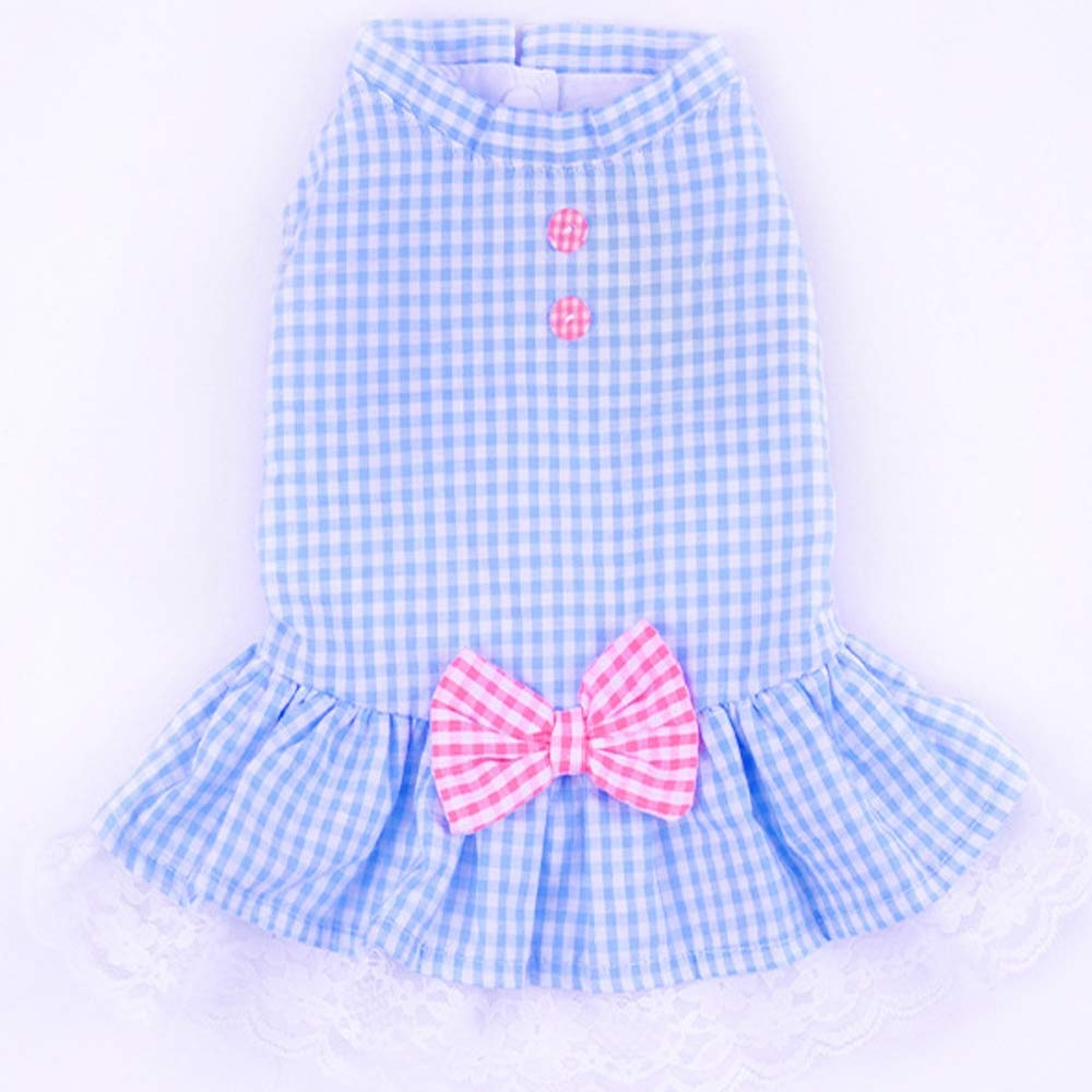 bluee X-Large bluee X-Large Classic Plaid Dog Dresses Summer Dog Dresses Fashion Cute Summer Breathable Pet Dog Clothing for Small Dogs,bluee,XL