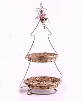 Etagere Weihnachtsdeko.Tannenbaum Etagere Weihnachtsdeko Verziert X2 Höhe 64cm Amazon De