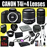 Canon EOS Rebel T4i 18 MP CMOS Digital SLR Camera w/EF-S 18-55mm f/3.5-5.6 IS Lens + EF 75-300mm f/4-5.6 III Telephoto Zoom Lens + LP-E8 Replacement Lithium Ion Battery w/External Rapid Charger + 16GB SDHC Class 10 Memory Card + 58mm Wide Angle Lens + 58mm 2x Telephoto Lens + 58mm 3 Piece Filter Kit + Mini HDMI Cable + Carrying Case + Full Size Tripod + External Flash + Multi Card USB Reader + Memory Card Wallet + Deluxe Starter Kit DavisMAX Bundle, Best Gadgets